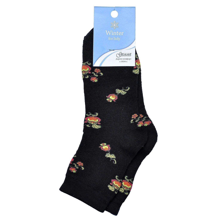 Женские махровые хлопковые носки гамма черные / цветы Оао гамма г. орел