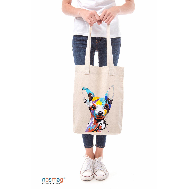 Льняная сумка с рисунком Чихуа-хуа