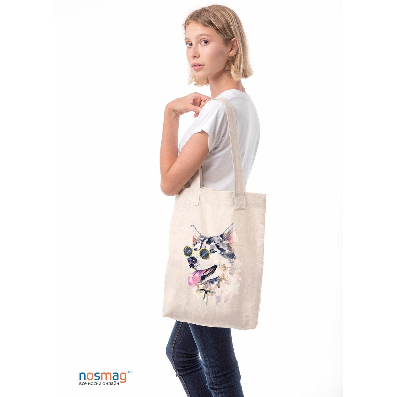 Льняная сумка с рисунком Пес базилио