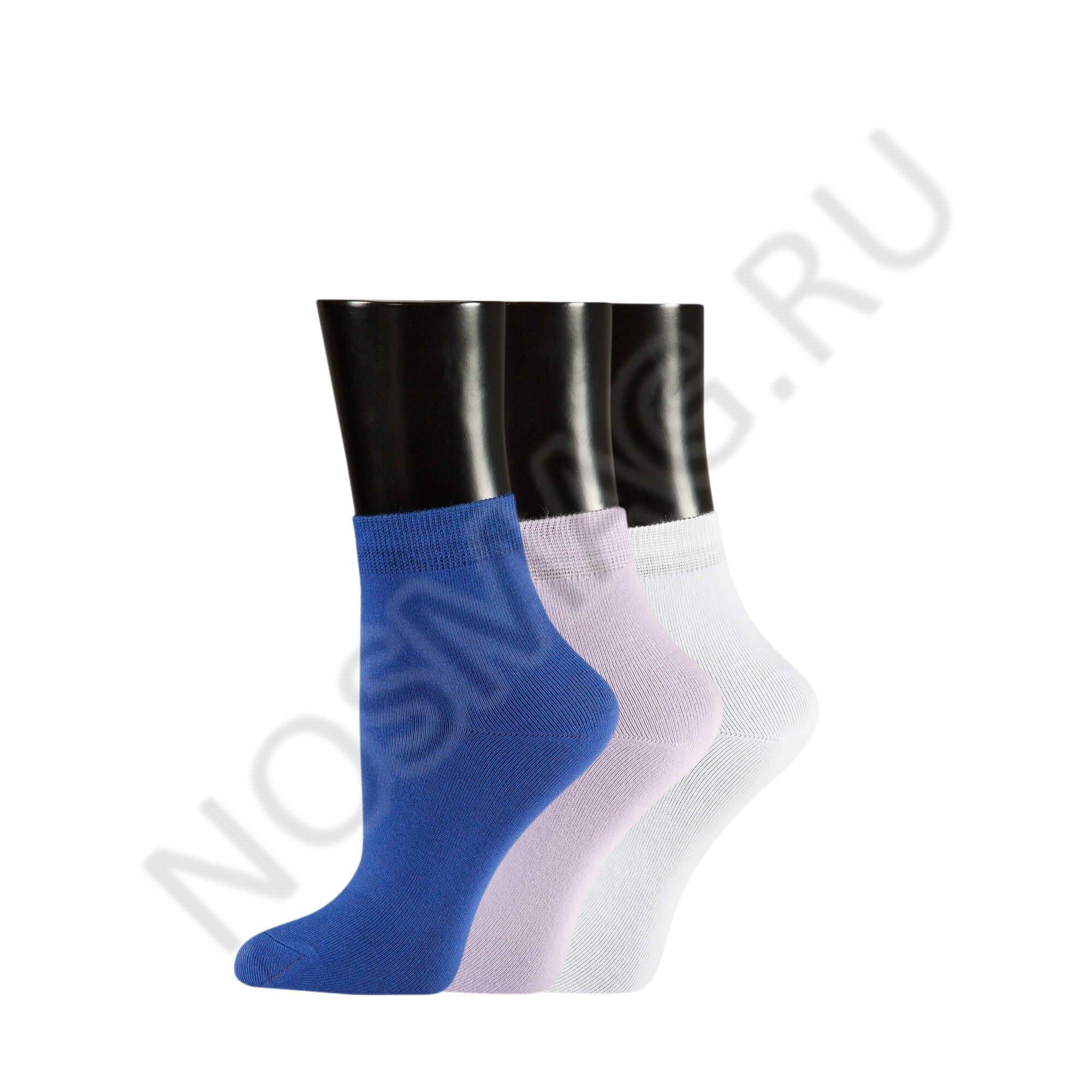 Носки женские teller optima, набор из 3 пар белый, розовый, фиолетовый