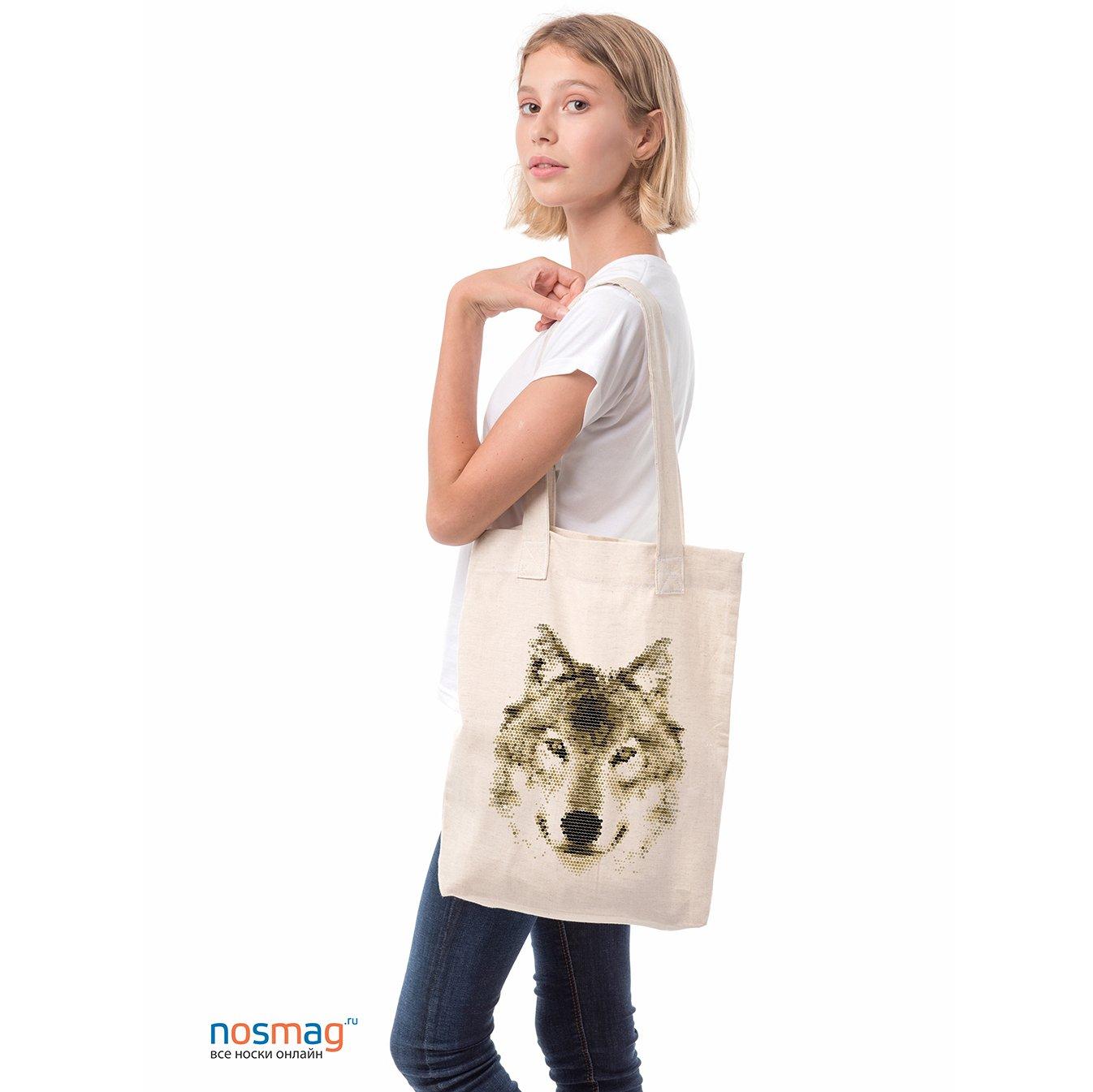 Льняная сумка с рисунком Волк