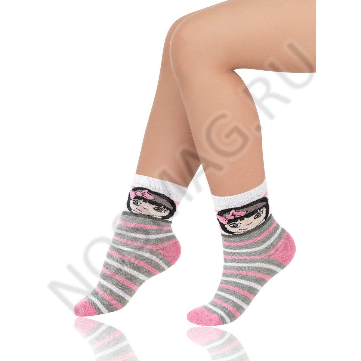 Носки детские хлопковые Charmante серые меланж/розовые