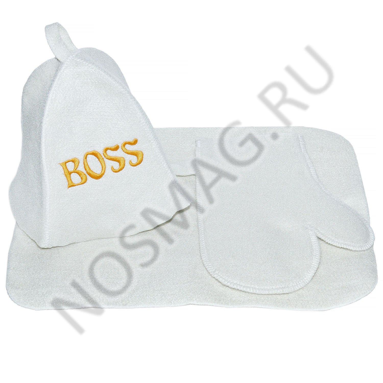 """Банный комплект главбаня белый, """"босс"""""""