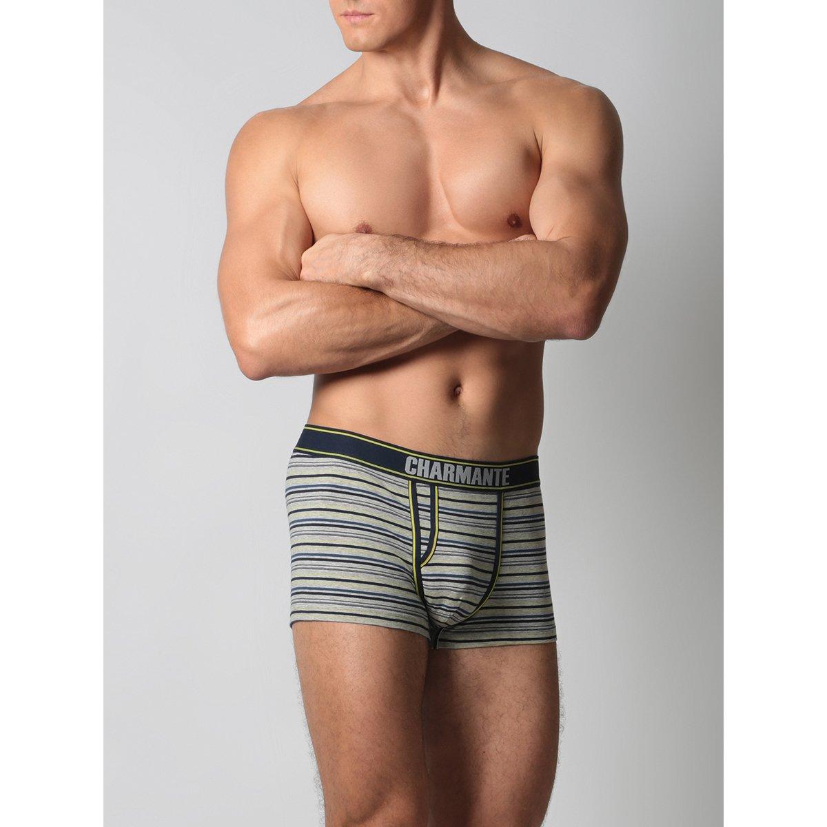 Трусы-боксеры мужские Charmante серый/жёлтый