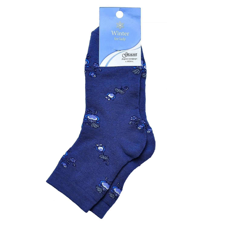 Женские махровые хлопковые носки гамма синие / цветы Оао гамма г. орел