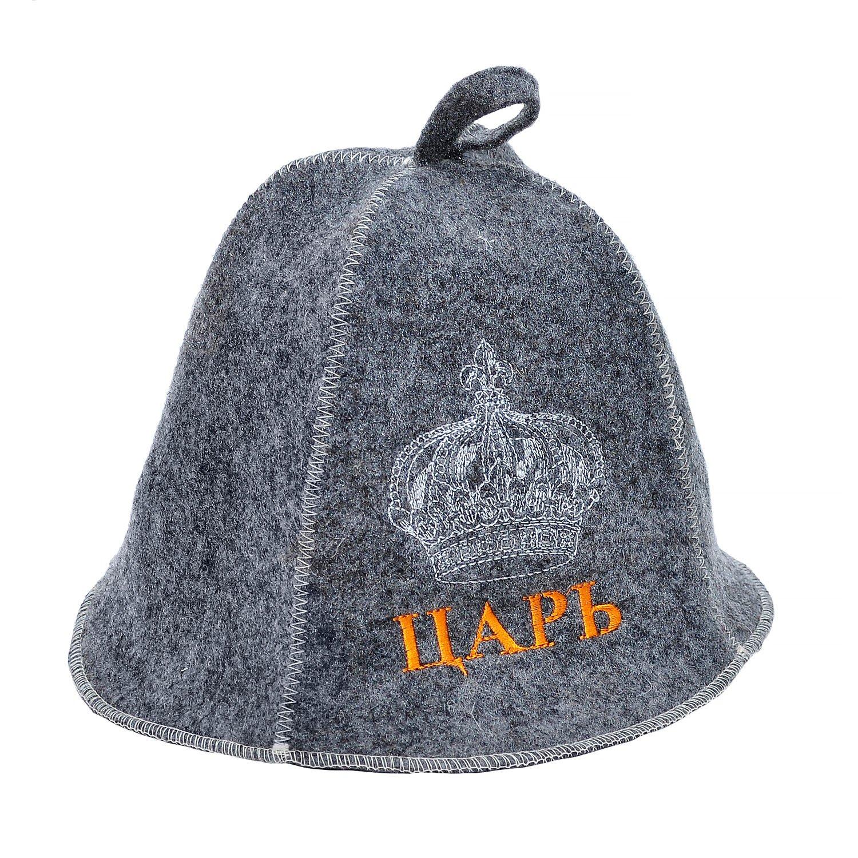 """Банная шапка серая """"царь"""" Россия"""