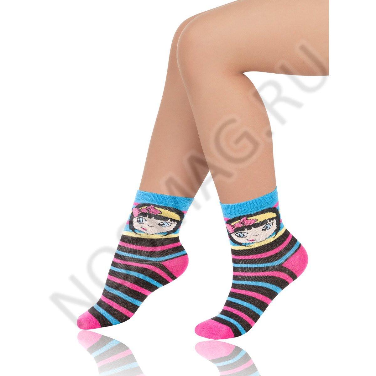 Носки детские хлопковые Charmante черные/розовые