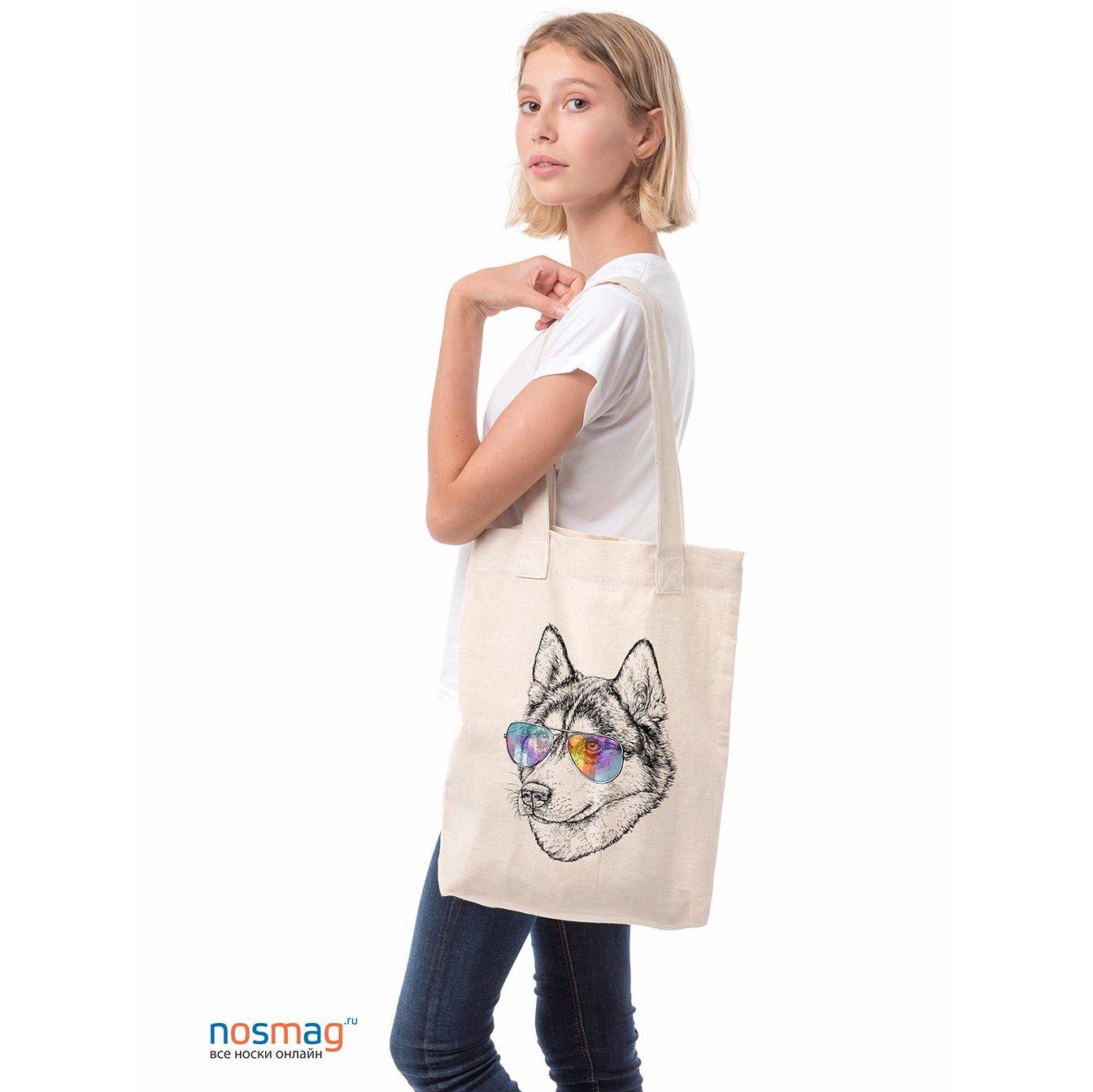 Льняная сумка с рисунком Пес в авиаторах