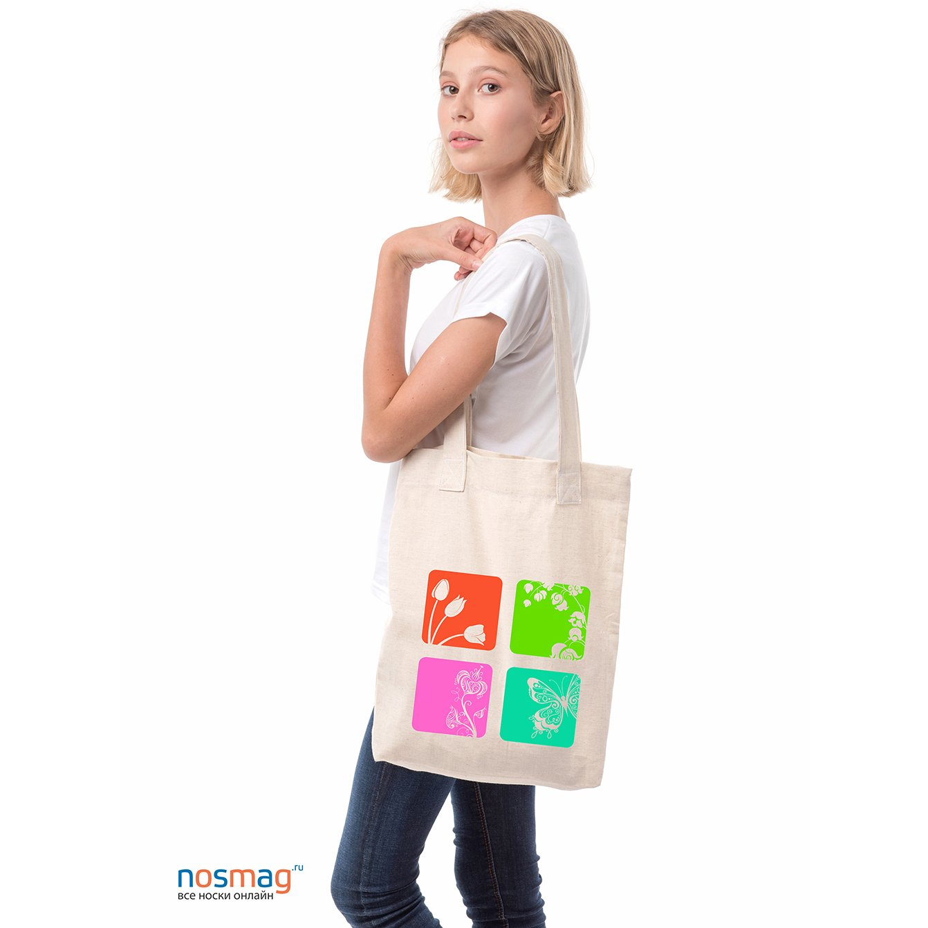 Льняная сумка с рисунком Краски весны