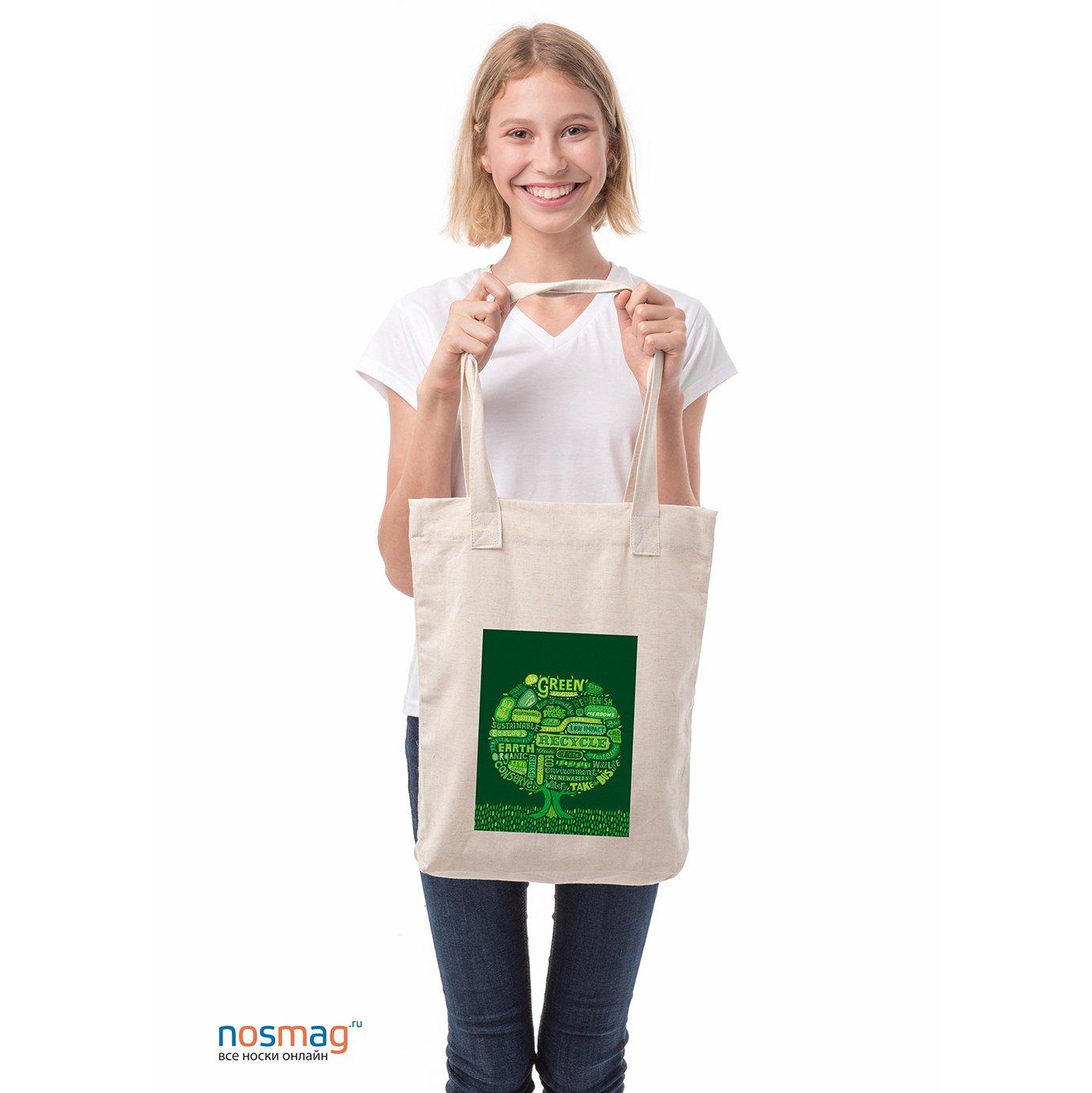 Льняная сумка с рисунком Green