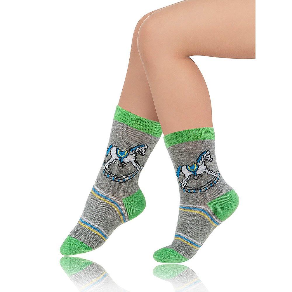Носки детские хлопковые Charmante серый меланж/зеленый