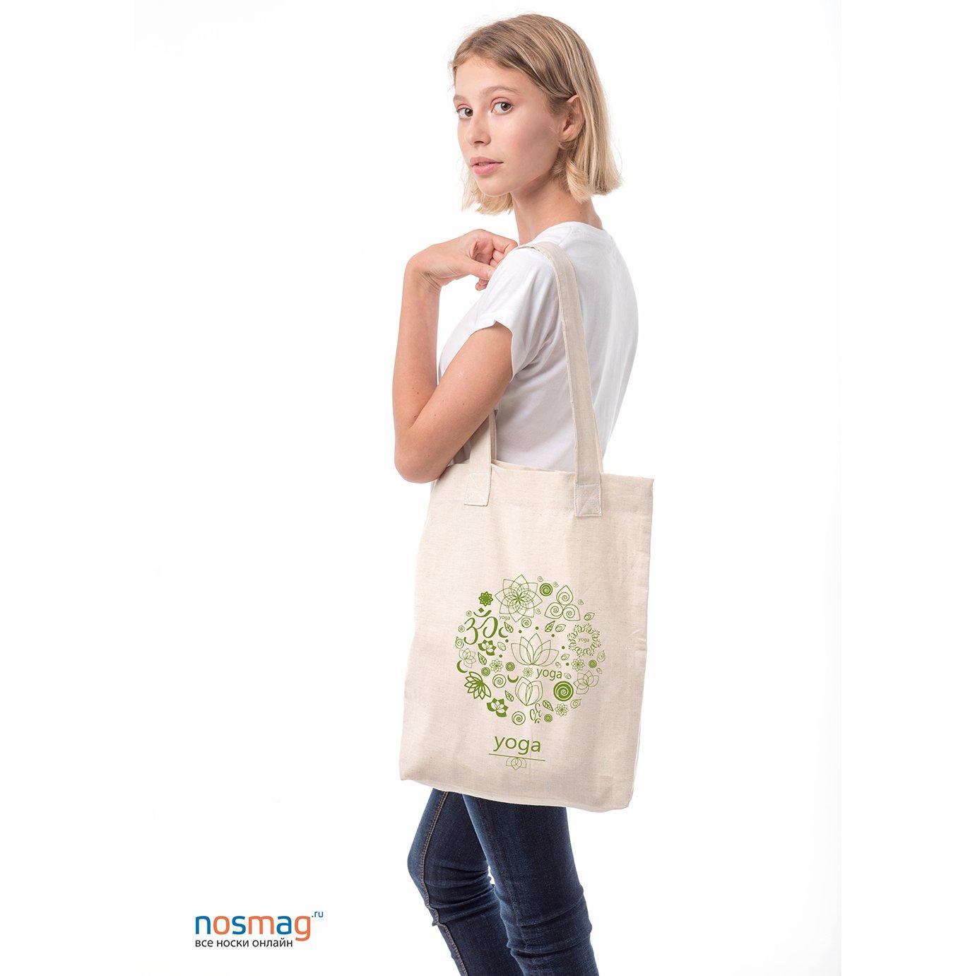 Льняная сумка с рисунком Йога