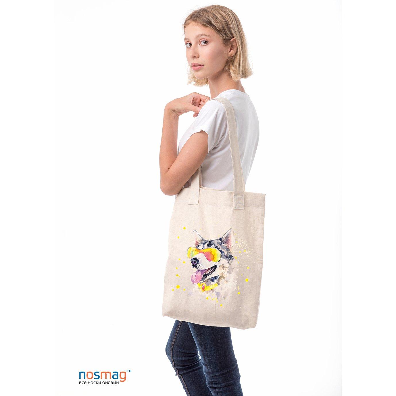 Льняная сумка с рисунком Пес в ярких очках