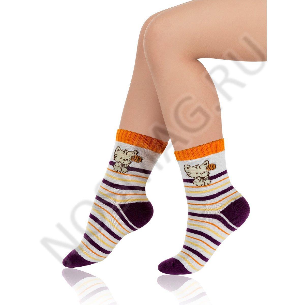 Носки детские хлопковые Charmante белые/баклажановые