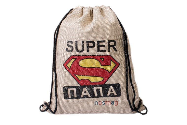 Льняной мешок с принтом «SUPER папа»