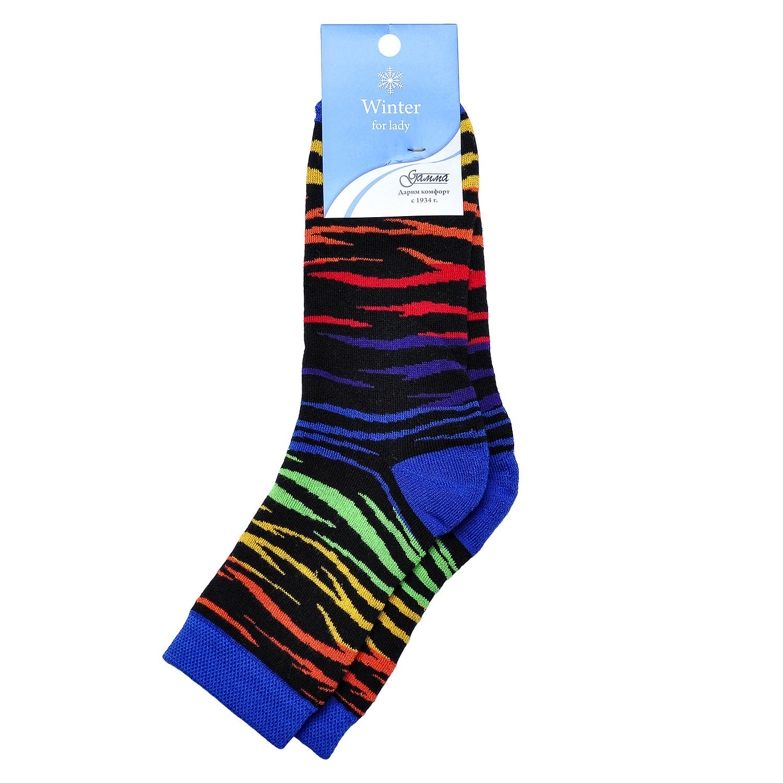 Женские махровые хлопковые носки гамма черные/флуоресцентная зебра Оао гамма г. орел
