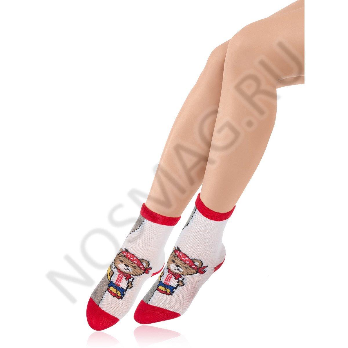 Носки детские хлопковые Charmante серые меланж/красные