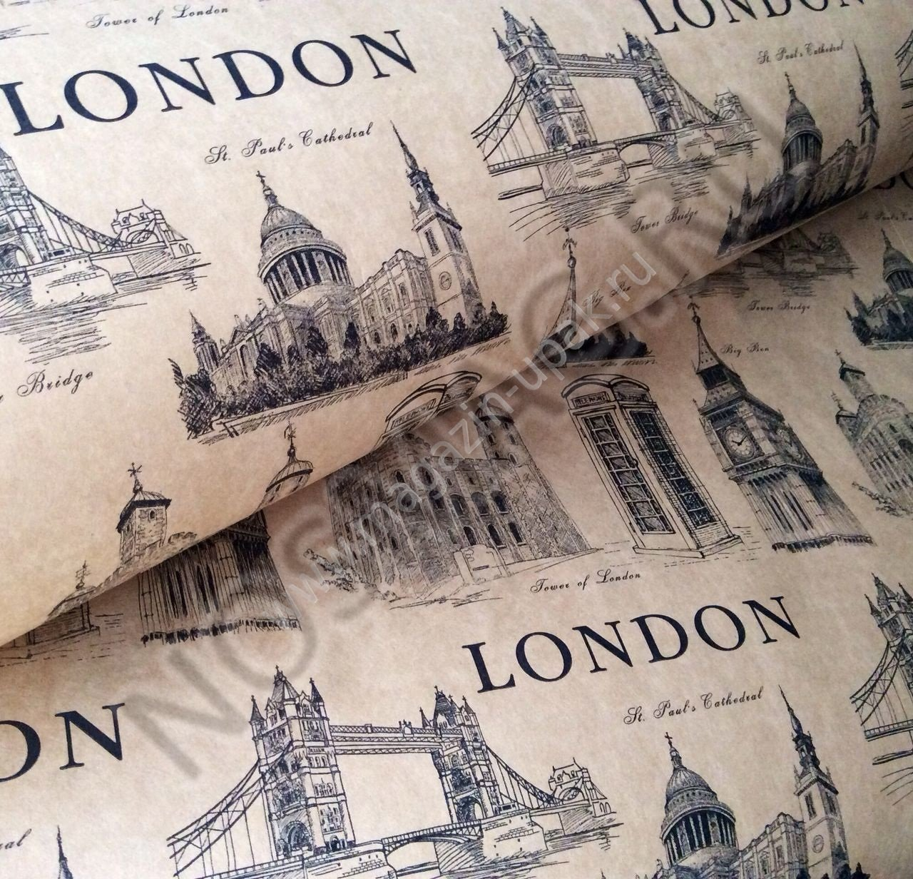 """Упаковка 1 кейса в подарочную бумагу """"Лондон"""""""