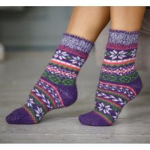 Женские шерстяные носки (Бабушкины носки) ФИОЛЕТОВЫЕ