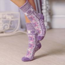 Женские шерстяные носки (Бабушкины носки) СИРЕНЕВЫЕ