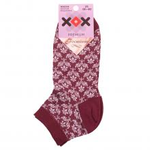 Женские укороченные носки из мерсеризованного хлопка ХОХ БОРДОВО-БЕЛЫЕ