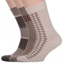 Комплект из 3 пар мужских носков Comfort (Palama) БЕЖЕВЫЕ / КОРИЧНЕВЫЕ
