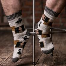 Мужские шерстяные носки (Бабушкины носки) СВЕТЛО-СЕРЫЕ