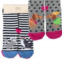 Комплект женских хлопковых носков EKMEN, 2 пары СОБАКИ/КОТЫ