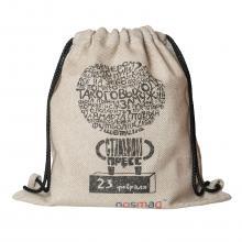 Льняной мешок с надписью «Стальной пресс»