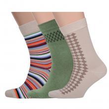 Комплект из 3 пар мужских носков Comfort (Palama) ЗЕЛЕНЫЕ / БЕЖЕВЫЕ / МУЛЬТИКОЛОР