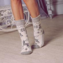 Женские шерстяные носки (Бабушкины носки) БЕЛО-СЕРЫЕ