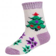 Детские шерстяные носки (Бабушкины носки) БЕЛО-СИРЕНЕВЫЕ