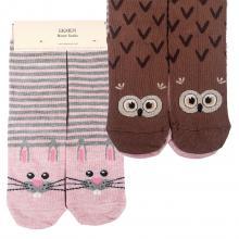 Комплект женских хлопковых носков EKMEN, 2 пары ЗАЙЧИК/СОВА