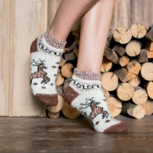 Женские шерстяные короткие носки (Бабушкины носки) БЕЛЫЕ