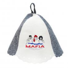 Банная шапка БЕЛО-СЕРАЯ  Мафия