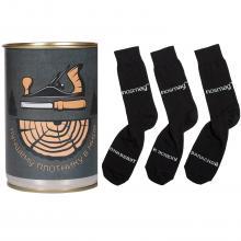 Носки в банке  Трио  с надписью  лучшему плотнику в мире  ЧЕРНЫЕ