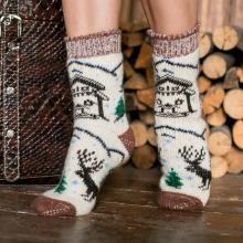 Женские шерстяные носки (Бабушкины носки) БЕЛО-КОРИЧНЕВЫЕ