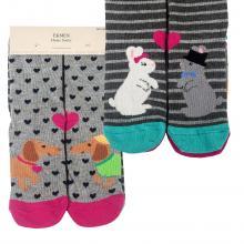 Комплект женских хлопковых носков EKMEN, 2 пары СОБАКИ/КРОЛИКИ