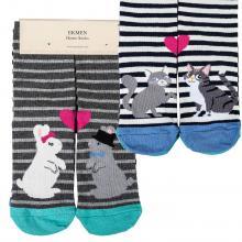 Комплект женских хлопковых носков EKMEN, 2 пары КРОЛИКИ/КОТЫ