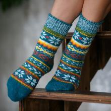 Женские шерстяные носки (Бабушкины носки) БИРЮЗОВЫЕ
