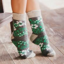 Женские шерстяные носки (Бабушкины носки) СЕРО-ЗЕЛЕНЫЕ