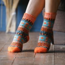 Женские шерстяные носки (Бабушкины носки) ОРАНЖЕВЫЕ
