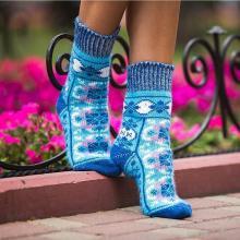 Женские шерстяные носки (Бабушкины носки) ГОЛУБЫЕ