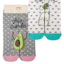 Комплект женских хлопковых носков EKMEN, 2 пары АВОКАДО/ЧАЙ