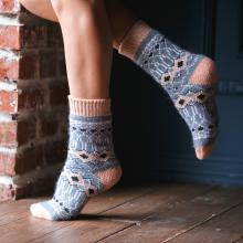 Женские шерстяные носки (Бабушкины носки) ДЖИНСОВО-РОЗОВЫЕ