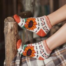 Женские шерстяные короткие носки (Бабушкины носки) БЕЛО-ОРАНЖЕВЫЕ