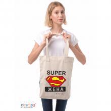 Льняная сумка с надписью «Super жена»