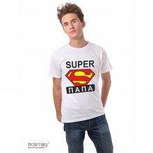 Мужская футболка с рисунком Супер папа БЕЛАЯ