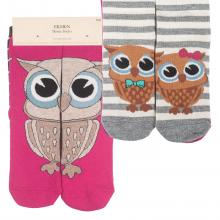Комплект женских хлопковых носков EKMEN, 2 пары ЯРКО-РОЗОВЫЕ/СЕРЫЕ