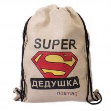 Льняной мешок с принтом  SUPER дедушка